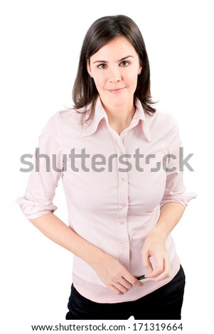 Casual business woman smiling - isolated over a white.