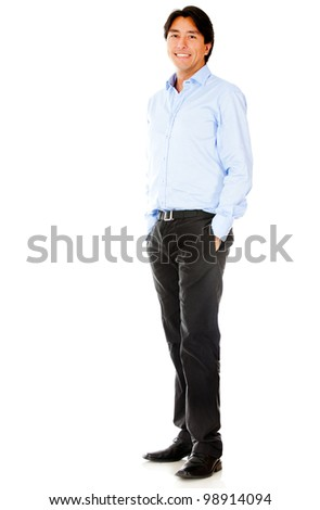 Casual businessman standing - isolated over a white background - stock photo