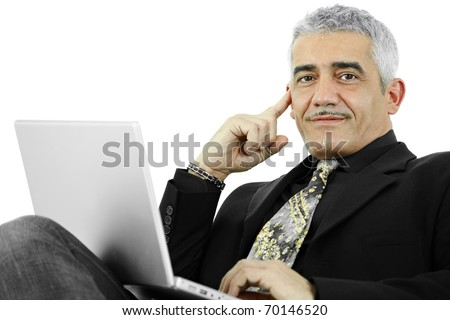 Casual businessman thinking leaning on hand, using laptop computer. Isolated on white.?