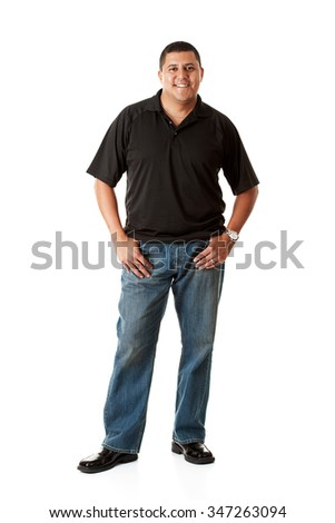 Casual: Cheerful Casual Man on White - stock photo