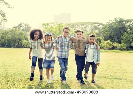Casual Children Cheerful Cute Friends Kids Joy Concept