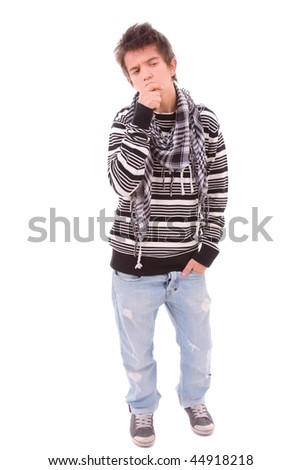 Casual cool young guy, isolated on white background