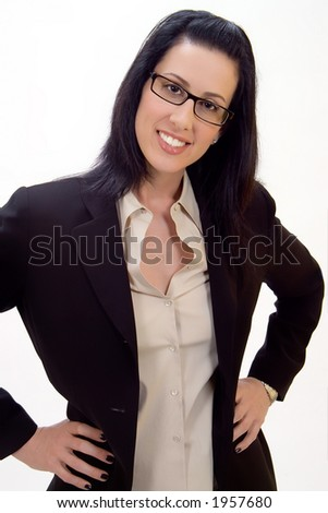Casual corporate headshot of female executive smiling - stock photo