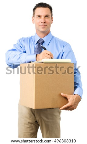 Casual Dress Businessman Holding Box on White