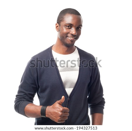 Casual dressed afro-american man with white t-shirt and thumbs up. Isolated on white.