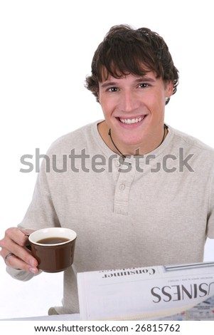 Casual Dressed Handsome Young Man Reading Newspaper - stock photo