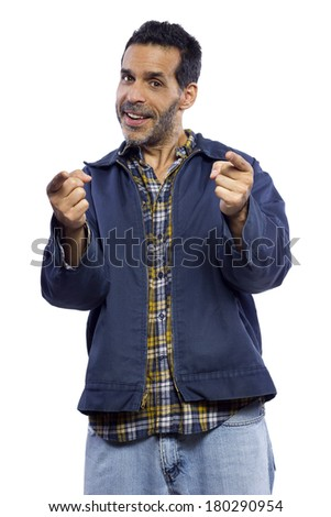 casual dressed man pointing with white background - stock photo