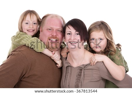 casual family with kids on white isolated background - stock photo