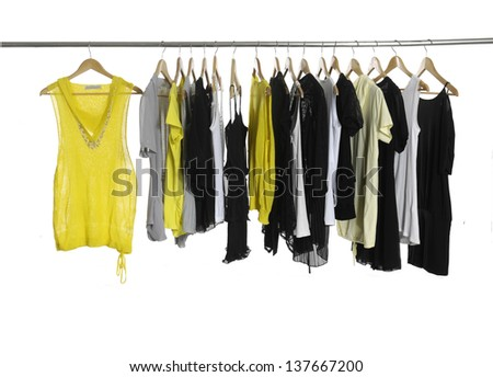 casual fashion clothing on hangers