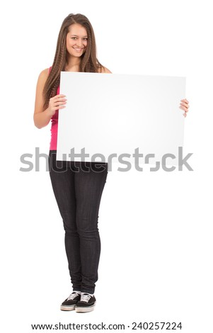Casual Female In Pink Shirt Holding a Blank Billboard Isolated on White Background