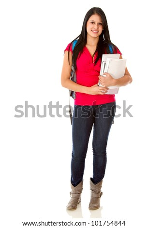 Casual female student carrying notebooks - isolated over a white background - stock photo
