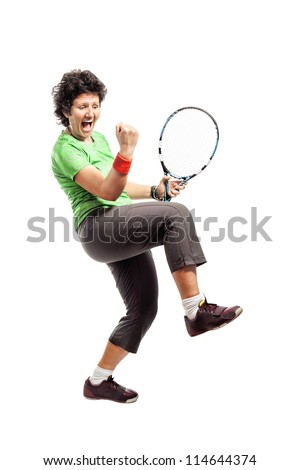 Casual female tennis player isolated on white background