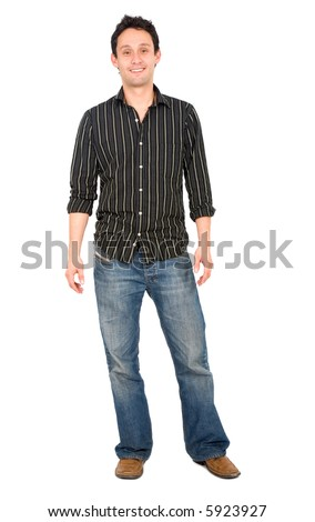 Casual friendly man in jeans and a shirt – isolated over a white background - stock photo