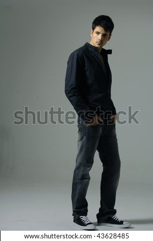 Casual friendly man portrait - isolated over a white - stock photo
