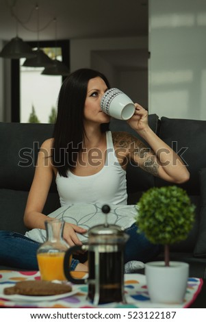 Casual girl at home take the breakfast on weekend