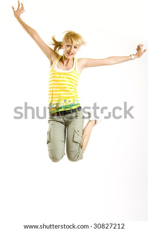 casual girl jumps in the air