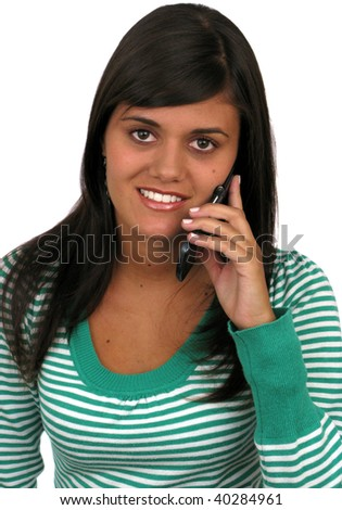 Casual girl on the phone over a white background