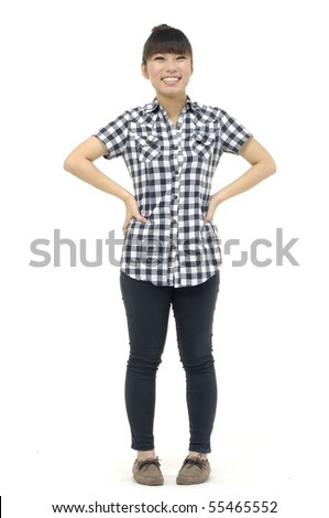 casual girl standing up over a white