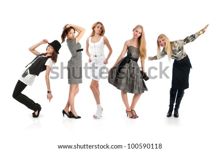 Casual group of people isolated over a white background - stock photo