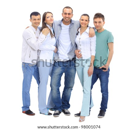 Casual group of people looking happy isolated on white - stock photo