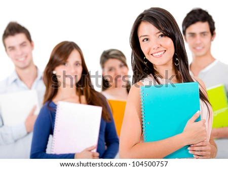 Casual group of students smiling - isolated over a white background