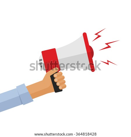 Casual hand holding bullhorn illustration, concept of news announcement, loud shout, shouting people, advertisement speech symbol, broadcasting flat modern design isolated on white background image - stock photo