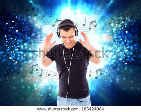 casual handsome man with headphones and notes all around him, music love and joy, abstract style - stock photo