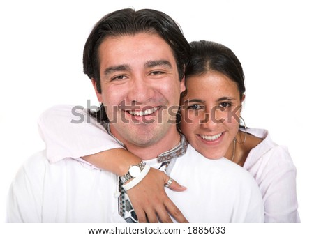 casual happy couple over white background - focus on male