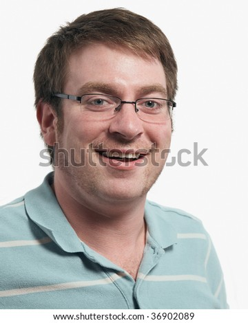 Casual happy young man isolated on white background - stock photo