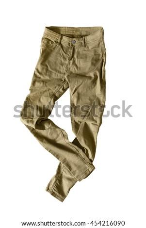 Casual khaki pants on white background - stock photo
