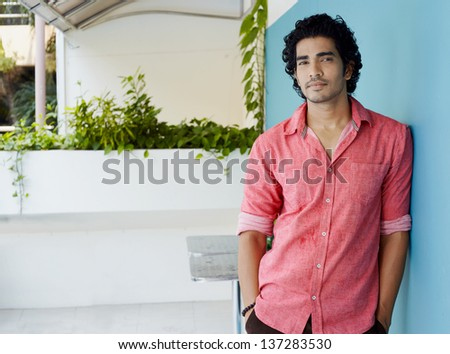 Casual lifestyle outdoor portrait handsome guy - stock photo