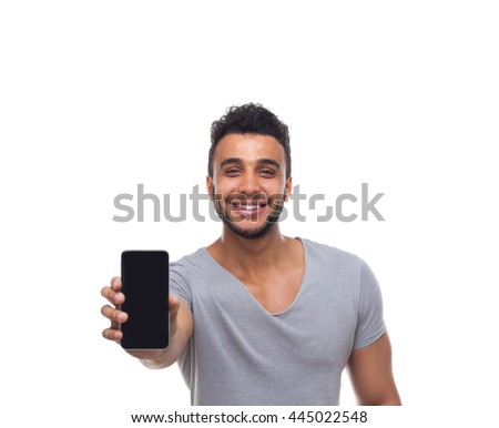 Casual Man Displaying Mobile Cell Smart Phone Smile Young Handsome Guy Wear Shirt Jeans Isolated White Background