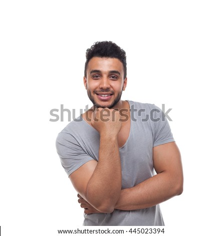 Casual Man Hand Hold Chin Smiling Young Handsome Guy Wear T-Shirt Isolated White Background - stock photo