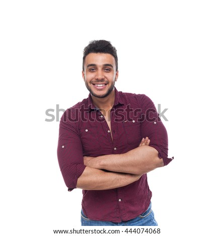 Casual Man Happy Smile Young Handsome Guy Folded Hands Wear Shirt Isolated White Background - stock photo