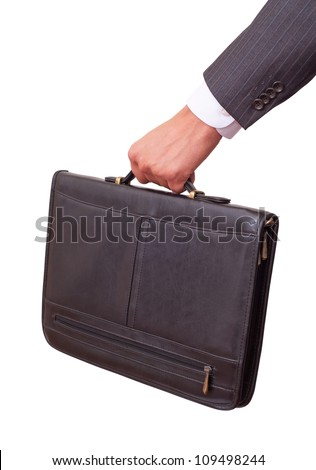 Casual Man holding in hand a briefcase . Isolated on white background. With clipping path included - stock photo