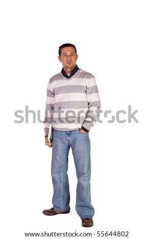 Casual Man in Jeans Posing - Isolated Background - stock photo