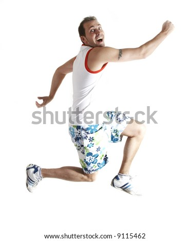 Casual man jumping, isolated on white - stock photo