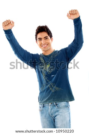 casual man looking happy with arms up isolated over a white background - stock photo
