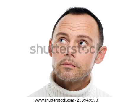 Casual man on white background.