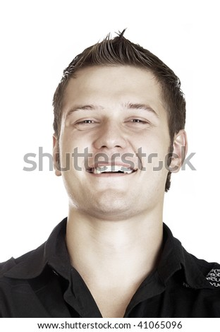 casual man portrait smiling on the white background - stock photo