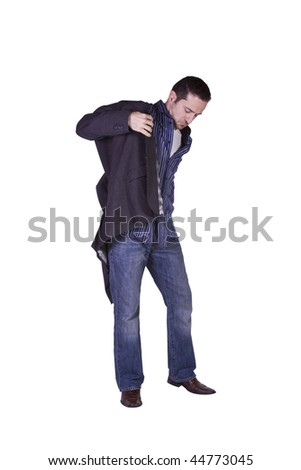 Casual Man Putting His Jacket On Getting Ready - Isolated Background - stock photo