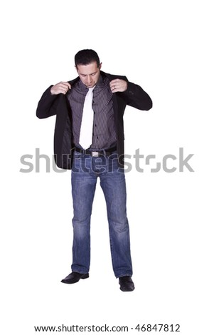 Casual Man Putting His Jacket On Getting Ready - Isolated Background