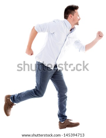 Casual man running late - isolated over a white background