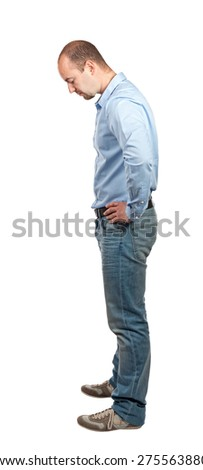 casual man side  view isolated on white - stock photo