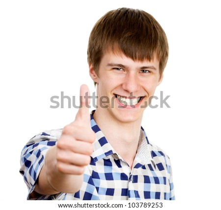 Casual man smiling doing the ok sign over a white background