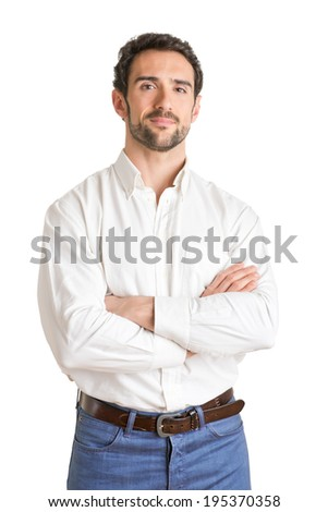 Casual  man smiling with arms crossed in a white background - stock photo