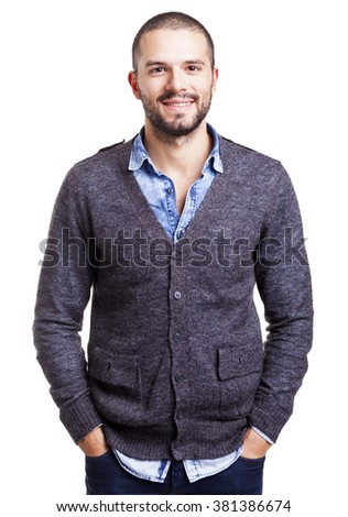 Casual man standing smiling with the hands on the pockets, isolated on white background - stock photo