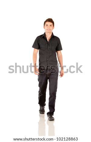 Casual man walking - isolated over a white background