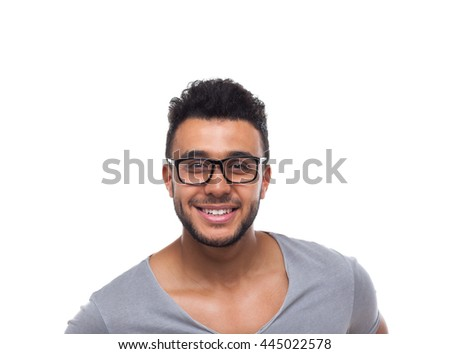 Casual Man Wear Eye Glasses Young Businessman Happy Smile Handsome Guy Student Wear Shirt Isolated White Background - stock photo