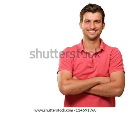 Casual Man with Arms Crossed isolated on white background - stock photo